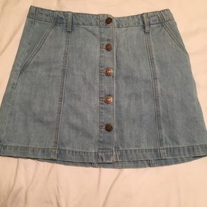 forever 21 light denim mini skirt